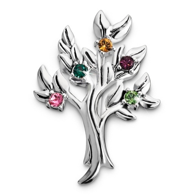 Sterling 5 Stone Family Tree Birthstone Pin with complimentary Filigree Keepsake Box