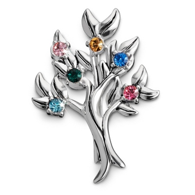 Sterling 6 Stone Family Tree Birthstone Pin with complimentary Filigree Keepsake Box - $50.99