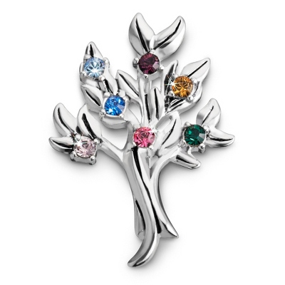 Sterling 7 Stone Family Tree Birthstone Pin with complimentary Filigree Keepsake Box - $54.99