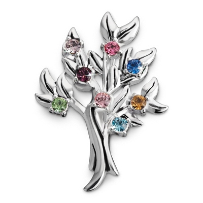 Sterling 8 Stone Family Tree Birthstone Pin with complimentary Filigree Keepsake Box
