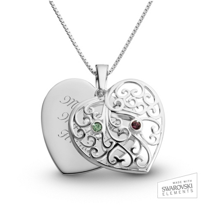 Sterling Silver 2 Birthstone Family Heart Necklace with complimentary Filigree Keepsake Box - $54.99