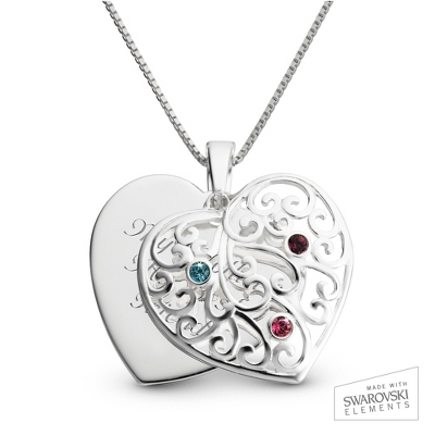 Sterling Silver 3 Birthstone Family Heart Necklace with complimentary Filigree Keepsake Box - $54.98