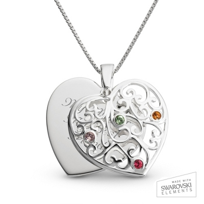 Sterling Silver 4 Birthstone Family Heart Necklace with complimentary Filigree Keepsake Box - $59.99