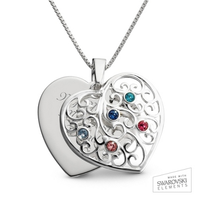 Sterling Silver 5 Birthstone Family Heart Necklace with complimentary Filigree Keepsake Box - $64.99