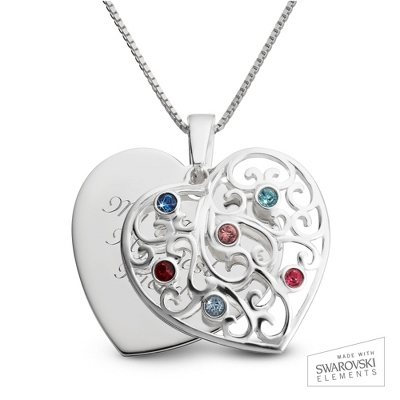 Sterling Silver 6 Birthstone Family Heart Necklace with complimentary Filigree Keepsake Box - $54.99