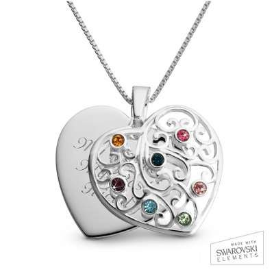 Sterling Silver 7 Birthstone Family Heart Necklace with complimentary Filigree Keepsake Box
