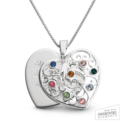 Sterling Silver 8 Birthstone Family Heart Necklace with complimentary Filigree Keepsake Box