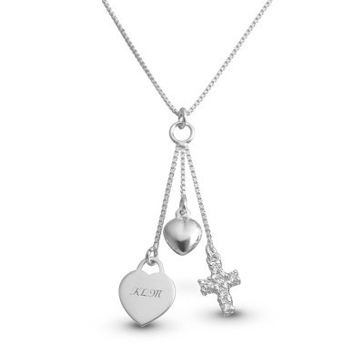 Girl's Sterling Silver Cross Charm Necklace with complimentary Filigree Heart Box - $45.00