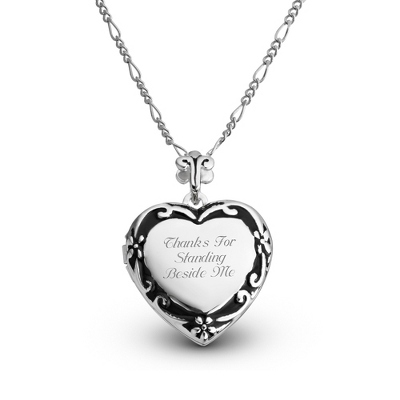 Expressions Scroll Heart Locket with complimentary Filigree Oval Box