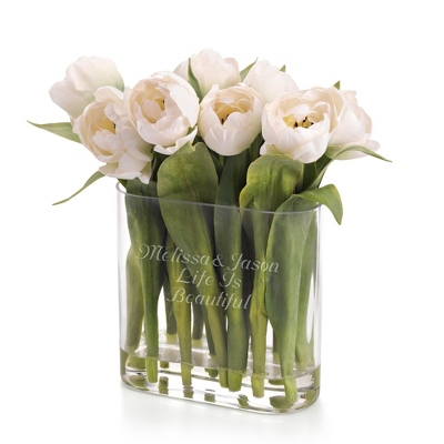 White Tulip Flower Arrangement - Vases & Floral Arrangements