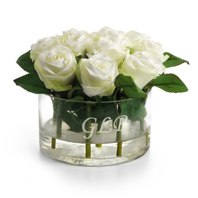 White Roses in Round Vase - Home Accents