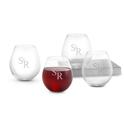 Set of Four Stemless Red Wine Glasses with Monogram
