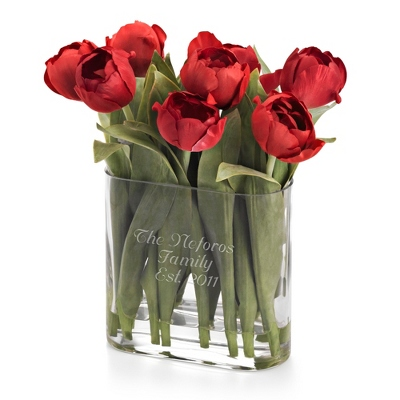 Red Tulip Flower Arrangement - Vases