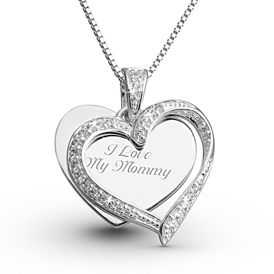 Sterling CZ Twisted Heart Necklace with complimentary Filigree Keepsake Box - Sterling Silver Necklaces