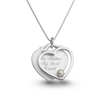 Sterling Satin Heart with Pearl Necklace with complimentary Filigree Keepsake Box - Sterling Silver Necklaces