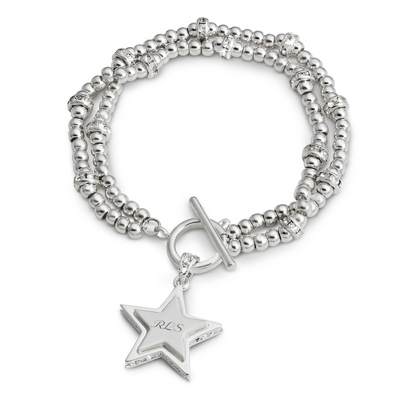 Double Strand CZ Star Bracelet with complimentary Filigree Keepsake Box - Fashion Bracelets & Bangles