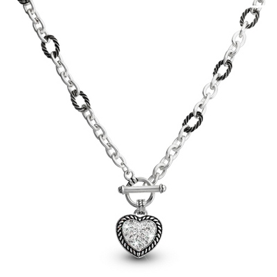 Expressions Pave Heart Pendant with complimentary Filigree Oval Box