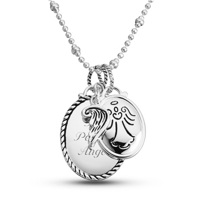 Expressions Angel Charm Necklace with complimentary Classic Beveled Edge Round Keepsake Box