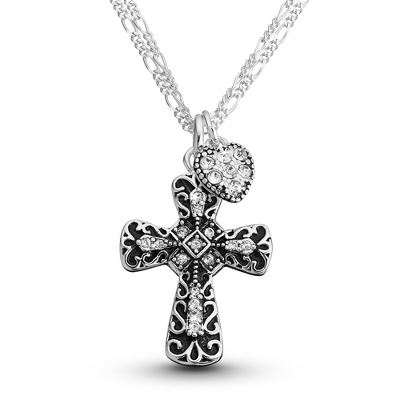 Silver Cross Necklace with Heart - 21 products