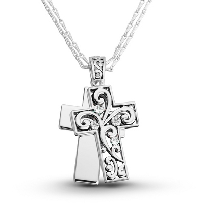 Expressions Scroll Cross Necklace with complimentary Filigree Oval Box