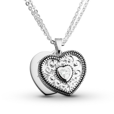Expressions CZ Pierced Heart Necklace with complimentary Filigree Oval Box