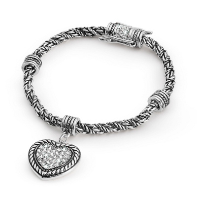 Expressions Pave Heart Bracelet with complimentary Filigree Oval Box - Fashion Bracelets & Bangles