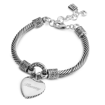 Expressions Heart Twist Bracelet with complimentary Filigree Oval Box - Fashion Bracelets & Bangles