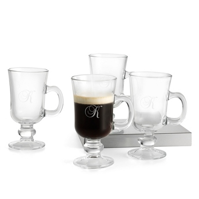 Set of Four Irish Coffee Mugs with Monogram - Drinkware for Her