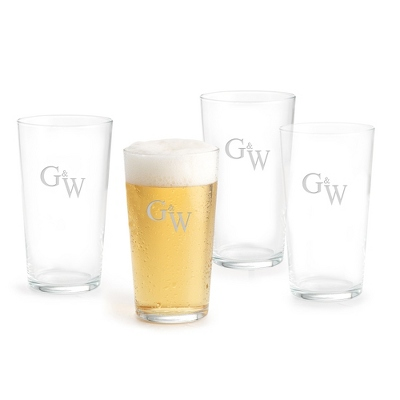 Set of Four Classic Beer Pints with Monogram