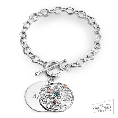 4 Stone Sterling Family Tree Bracelet with complimentary Filigree Keepsake Box - $69.99