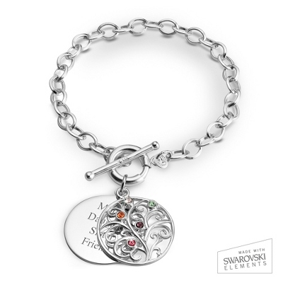 5 Stone Sterling Family Tree Bracelet with complimentary Filigree Keepsake Box