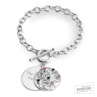 7 Stone Sterling Family Tree Bracelet with complimentary Filigree Keepsake Box