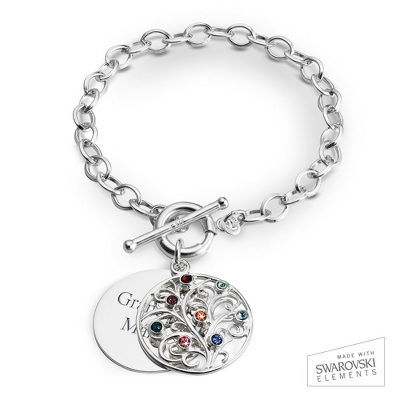 8 Stone Sterling Family Tree Bracelet with complimentary Filigree Keepsake Box