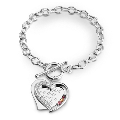 3 Stone Sterling Heart Swing Bracelet with complimentary Filigree Keepsake Box