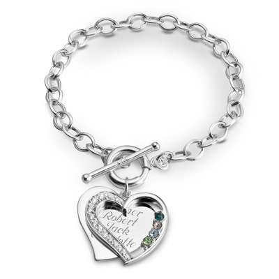 4 Stone Sterling Heart Swing Bracelet with complimentary Filigree Keepsake Box