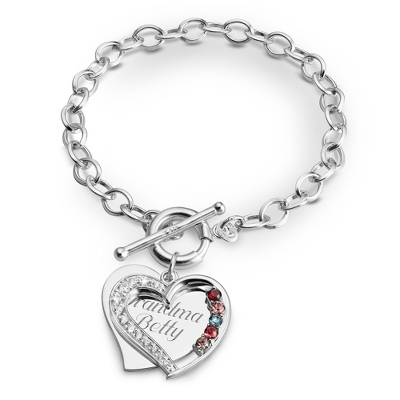 5 Stone Sterling Heart Swing Bracelet with complimentary Filigree Keepsake Box