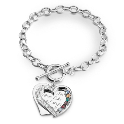 6 Stone Sterling Heart Swing Bracelet with complimentary Filigree Keepsake Box