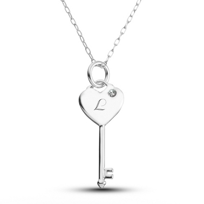Girl's Sterling Silver Birthstone Key Necklace with complimentary Filigree Keepsake Box
