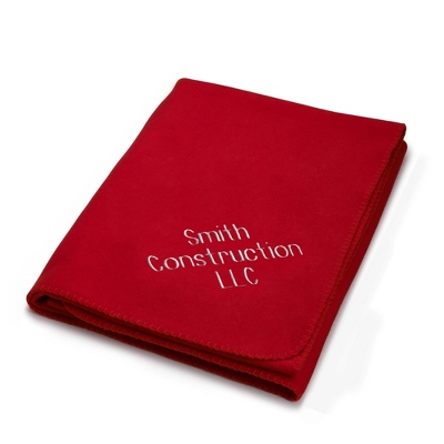 Embroidered Red Fleece Throw - Business Gifts For Her