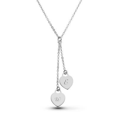 Sterling Silver 2 Heart Necklace with complimentary Filigree Keepsake Box