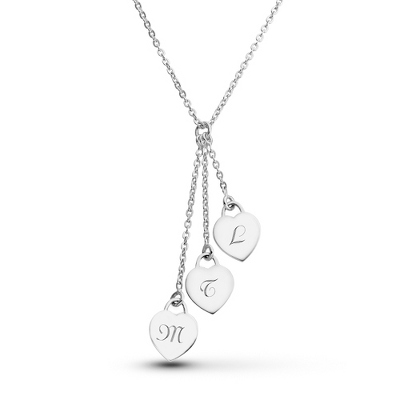 Sterling Silver 3 Heart Necklace