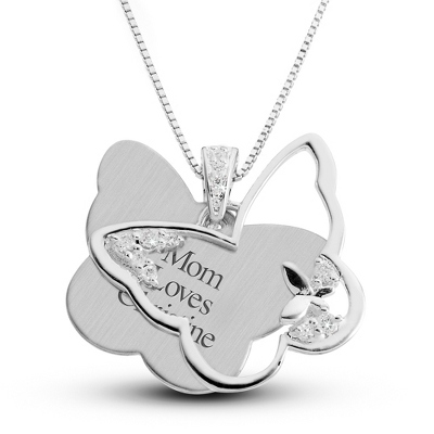 Sterling Silver Butterfly Necklace with complimentary Filigree Keepsake Box