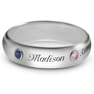 Sterling 5mm Family 2 Name and Birthstone Ring with complimentary Filigree Keepsake Box - $67.99