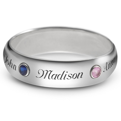 Sterling 5mm Family 3 Name and Birthstone Ring with complimentary Filigree Keepsake Box - $85.00