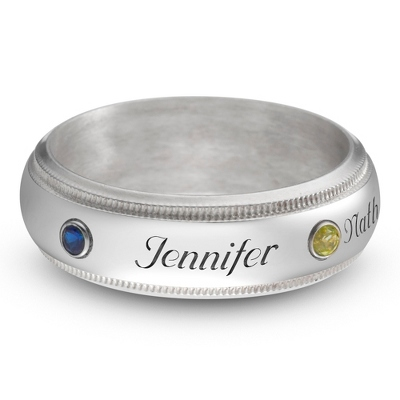 Sterling Family 2 Name and Birthstone Milgrain Band Ring with complimentary Filigree Keepsake Box