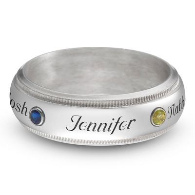 Sterling Family 3 Name and Birthstone Milgrain Band Ring with complimentary Filigree Keepsake Box