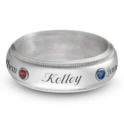 Sterling Family 4 Name and Birthstone Milgrain Band Ring with complimentary Filigree Keepsake Box