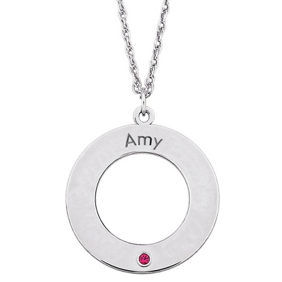 Sterling Family 1 Name and Birthstone Disk Pendant with complimentary Filigree Keepsake Box