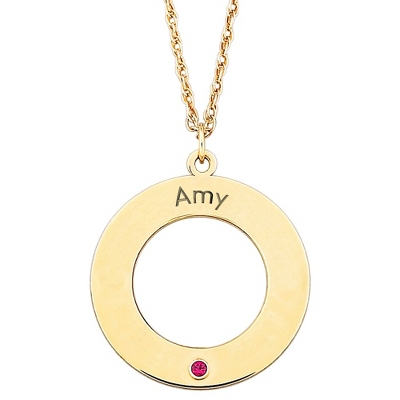 14K Gold/Sterling Family 1 Name and Birthstone Disk Pendant with complimentary Filigree Keepsake Box - $83.99