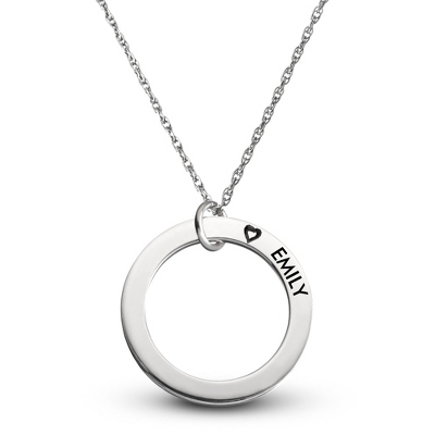 Sterling Family 1 Name Disk Pendant with Hearts with complimentary Filigree Keepsake Box - Sterling Silver Necklaces